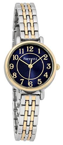 FERRETTI Damen Chic klein Zwei Ton Gold und Silber Uhr mit Metall duenn Band Blue Face ft15003
