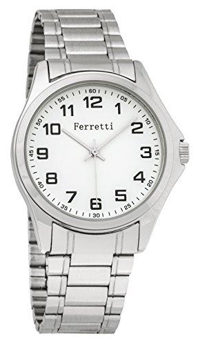 FERRETTI Herren Classic Duenn Silber gebuerstet Easy Reader weiss Face individuell regulierbare Armbanduhr ft15103