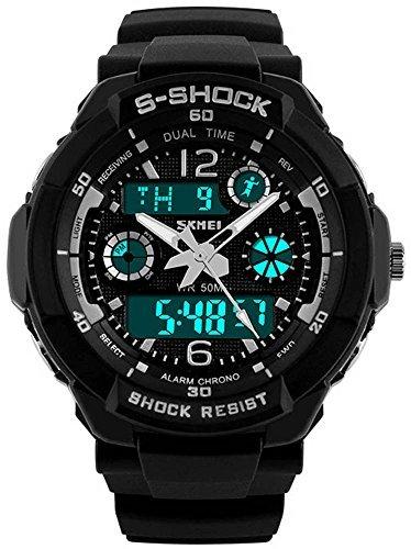 fanmis Unisex Sport Armbanduhr Multifunktions Colorful LED Licht Digital S Shock Armbanduhr Schwarz