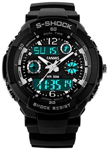 fanmis Unisex Sport Armbanduhr Multifunktions Gruen LED Licht Digital Wasserdicht S Shock Armbanduhr schwarz