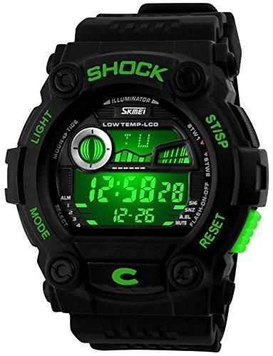 fanmis Unisex Sport Armbanduhr Multifunktions mehrfarbige LED Digital Wasserdicht Alarm Armbanduhr Gruen