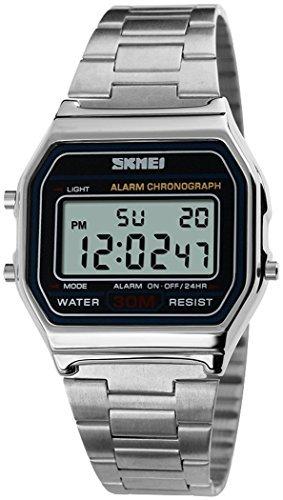 fanmis Digital Sport Armbanduhr Multifunktions Wasserdicht Taeglicher Alarm Edelstahl Armbanduhr