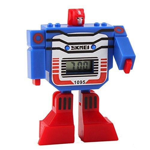 fanmis Kinder Sport LED Digital Cartoon Roboter Transformation Toys Blau