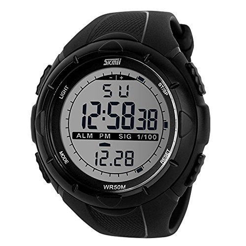 fanmis Herren s Digital LCD Display Militaer Sport Uhr mit Gummi Armband Big Face Armbanduhr Schwarz