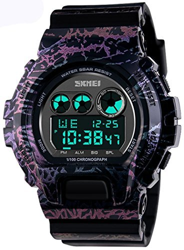 fanmis Herren LED Digital Military Uhren 50 m Dive Schwimmen Camo violett Outdoor Sport Armbanduhr