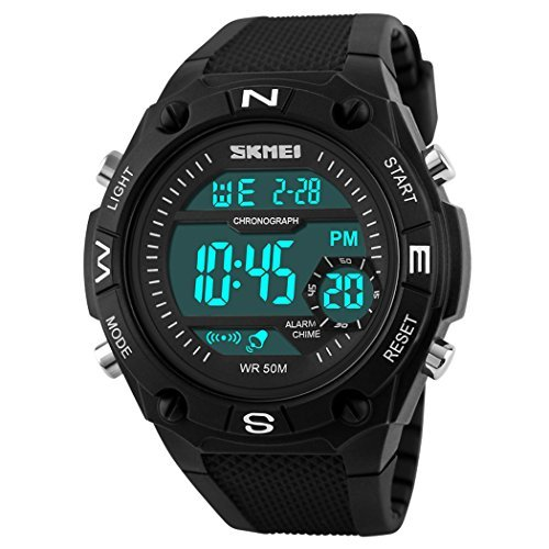 fanmis Sport Uhren Herren Digital LED Military Wasserdicht Schwarz