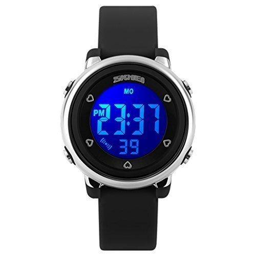 fanmis Digital LED Quarz Uhren wasserabweisend Kinder Maedchen Jungen Outlook Sportuhr Schwarz