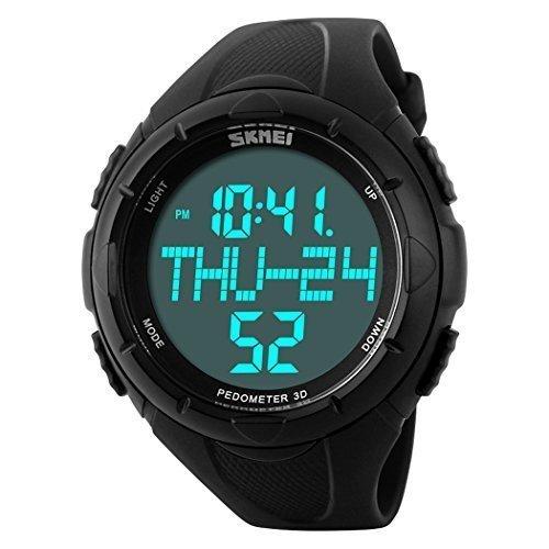 fanmis einfach Outdoor Sports Uhr Herren Armbanduhr Schrittzaehler Multifunktions Digital Armbanduhr Schwarz