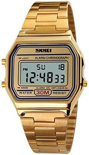 fanmis Damen Herren Digital Electronic Sport Uhr Multifunktions Wasserdicht Taeglicher Alarm goldfarbene Armbanduhr