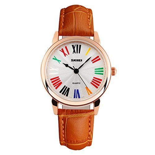 fanmis Frauen Elegante Fashion Freizeit Quarzuhr orange Lederband roemischen Zahl Wasserdicht Armbanduhr