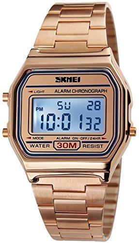 fanmis Digital Elektronische Sportuhr Multifunktions wasserfest Taeglicher Alarm Rose goldfarbene Armbanduhr