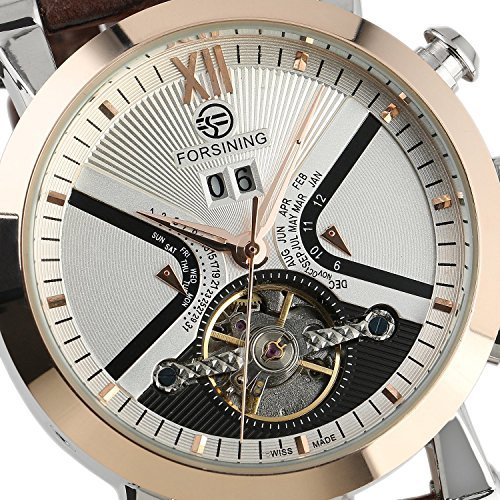 fanmis Herren Automatische mechanische Leder braun weiss Zifferblatt Luxus Herren Rose Gold Armbanduhr