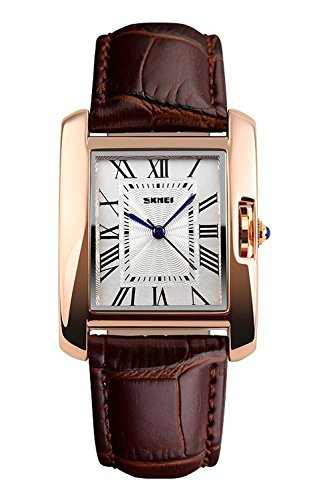 fanmis Rose Gold Fall Roemische Zahl Luxus Armbanduhr Braun Leder Armbanduhr