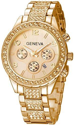fanmis Luxus Unisex Gold Kristall Quarz Kalender Edelstahl Armbanduhr