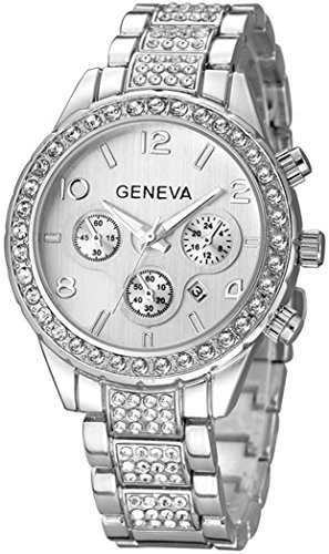 fanmis Luxus Unisex Silber Kristall Quarz Kalender Edelstahl Armbanduhr
