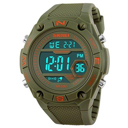fanmis Sport Uhren Herren Quarz Digital LED Military Wasserdicht Armbanduhr Gruen