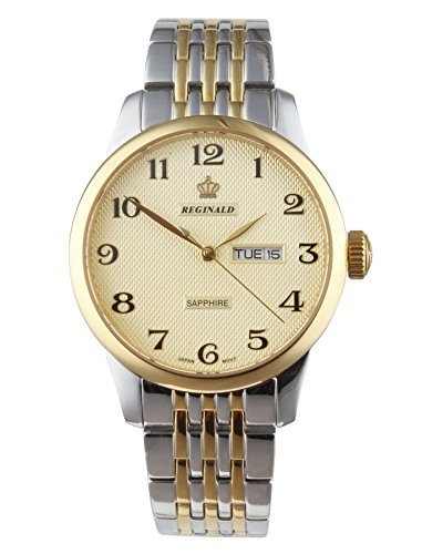 fanmis Gold Zifferblatt Saphir Quarz Kalender Gold Silber Zwei Ton Edelstahl Armbanduhr
