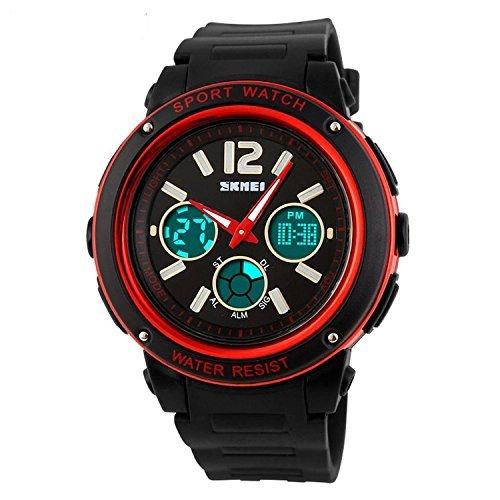fanmis Unisex Fashion Design Analog Digital Wasserdicht Schwarz Sportlich Armbanduhr rot