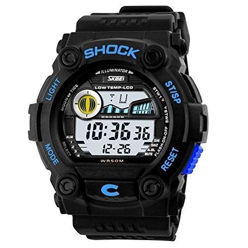 fanmis Unisex Fashion Sport Armbanduhr Multifunktions mehrfarbige LED Digital Wasserdicht Alarm Armbanduhr Blau