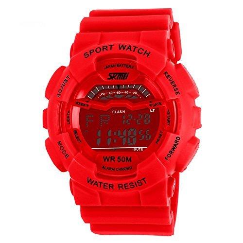 fanmis Damen Herren Fashion SPORTLICHES Design Multifunktional Digital Wasserdicht Armbanduhr rot