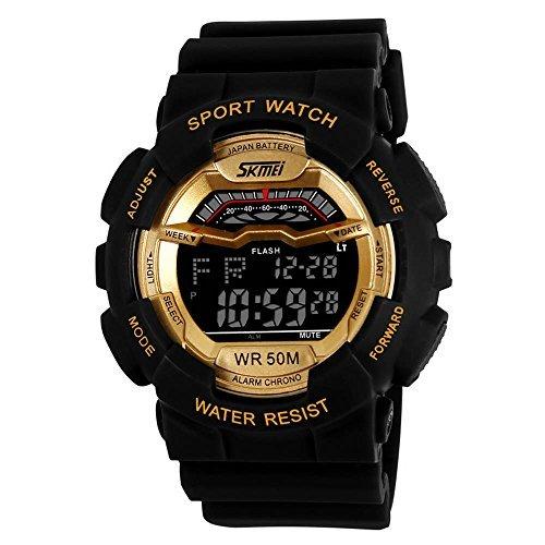 fanmis Herren Fashion SPORTLICHES Design Multifunktional Digital Wasserdicht Armbanduhr Gold