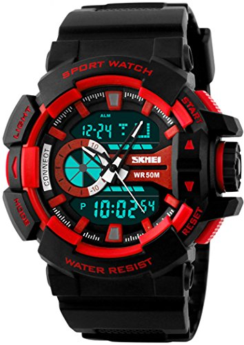 fanmis Military Sport Armbanduhr Analog Digital Multifunktions Alarm Dual Time Wasserdicht LED Uhr Rot
