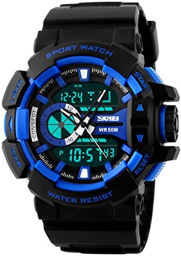 fanmis Military Sport Armbanduhr Analog Digital Multifunktions Alarm Dual Time Wasserdicht LED Uhr blau