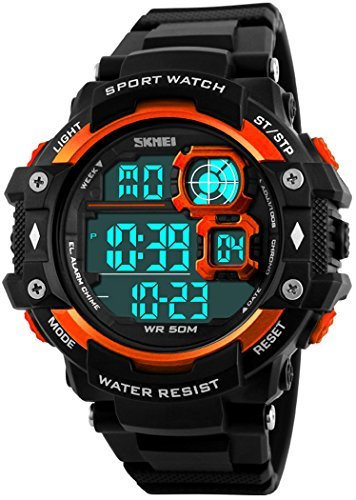 fanmis Military Sport Herren Analog Digital Multifunktions Alarm Dual Time Wasserdicht LED Uhr Orange