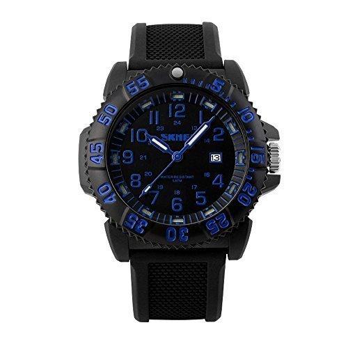 fanmis Military Sport Quarz Analog Digital Wasserdicht Luminous Schwarz Silikon Armbanduhr Blau