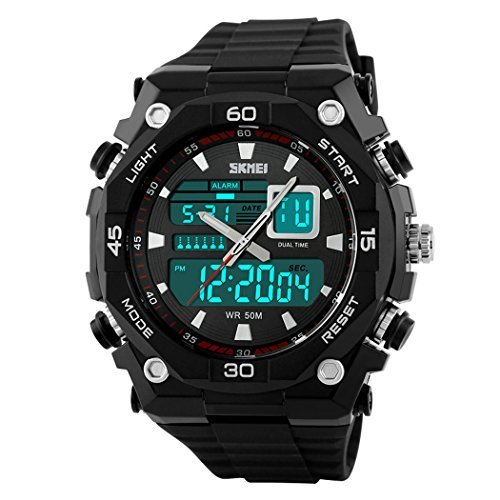 fanmis Herren Sport Uhren Quarz Uhr Military Wasserdicht Outdoor Dual Time Armbanduhr schwarz