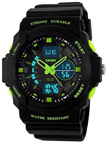 fanmis Damen Herren Multifunktions Cool s shock Sport Armbanduhr LED Analog Digital Wasserdicht Alarm Gruen