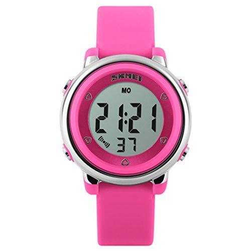 fanmis Multifunktions Digital LED Quarz Uhren wasserabweisend Kinder Maedchen Jungen Sport Armbanduhr Dark Pink