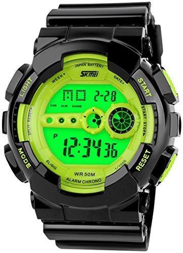 fanmis Outdoor Sport Armbanduhr Digital Multifunktions Alarm Wasserdicht Gruen