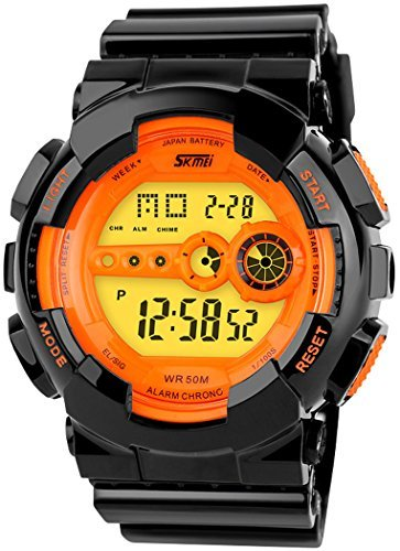 fanmis Outdoor Sport Armbanduhr Digital Multifunktions Alarm Wasserdicht Orange