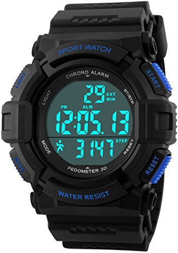 fanmis Outdoor Sport Armbanduhr Digital Multifunktions Alarm Schrittzaehler Wasserdicht Armbanduhr Blau