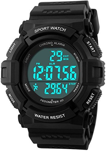 fanmis Outdoor Sport Armbanduhr Digital Multifunktions Alarm Schrittzaehler Wasserdicht Armbanduhr Schwarz
