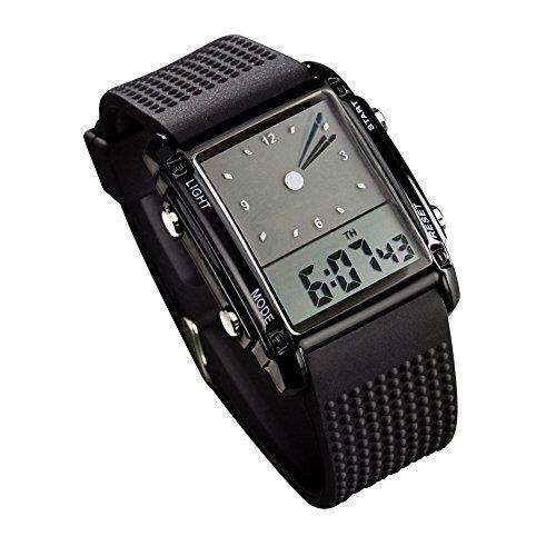 fanmis Herren Rechteck Zifferblatt Sport Armbanduhr mit fuenf Farben optional LED Hintergrundbeleuchtung Farbe schwarz