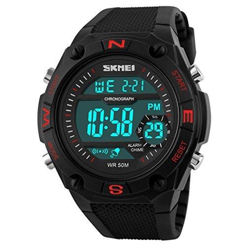 fanmis s shock Military Sport Uhren Herren Quarz Digital LED Armbanduhr Wasserdicht Rot