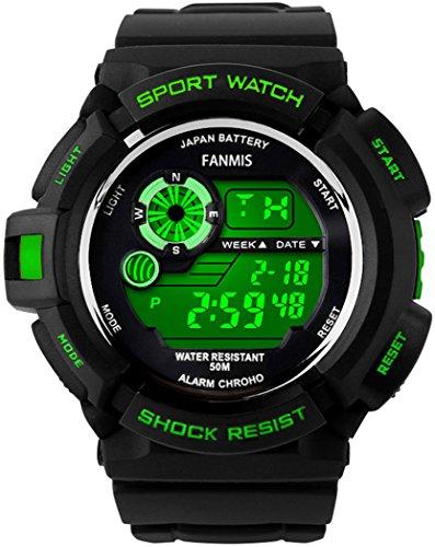 fanmis s shock Multi Funktion Digital LED wasserabweisend Elektronische Sport Uhren Gruen