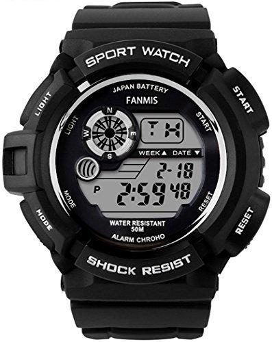fanmis s shock Multi Funktion Digital LED wasserabweisend Elektronische Sport Uhren schwarz