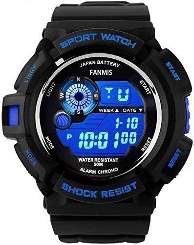 fanmis s shock Multi Funktion Digital LED wasserabweisend Elektronische Sport Uhren blau