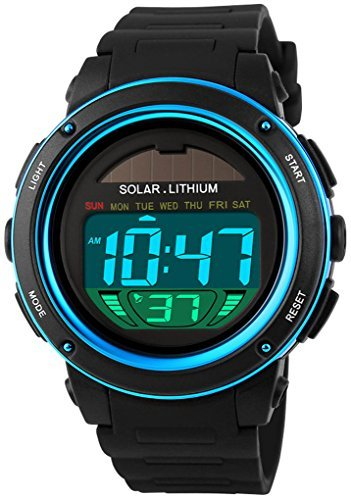 fanmis s shock Multi Funktion Digital LED Solar Power schwarz Sport Uhren blau
