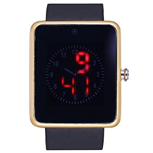 fanmis Herren Schwarz Silikon Band Spiegel Red LED Digital Display Sport Armbanduhr Gold