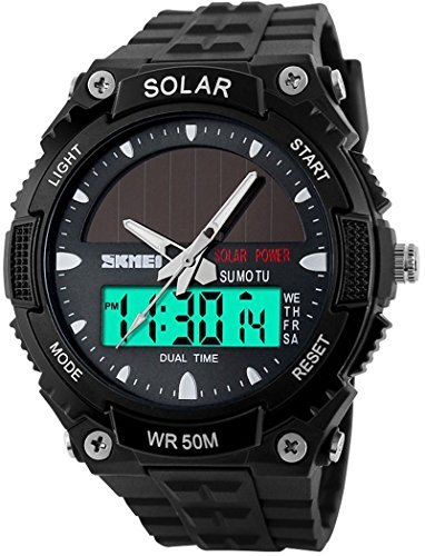 fanmis Herren Solarbetriebenes Casual Quarzuhr Digital Analog Multifunktional Sport Armbanduhr Schwarz