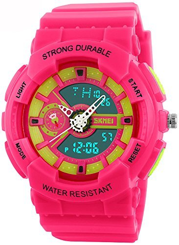 fanmis Damen sportliches Design Multifunktional Analog Digital Wasserdicht Armbanduhr Pink