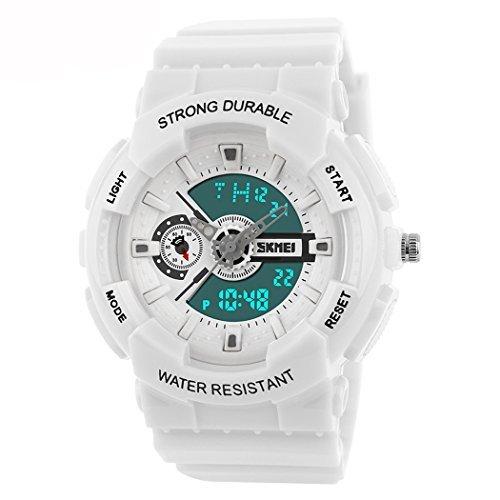fanmis Damen Herren Sportliches Design Multifunktional Analog Digital Wasserdicht Armbanduhr Weiss