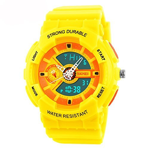 fanmis Damen Herren Sportliches Design Multifunktional Analog Digital Wasserdicht Armbanduhr Gelb