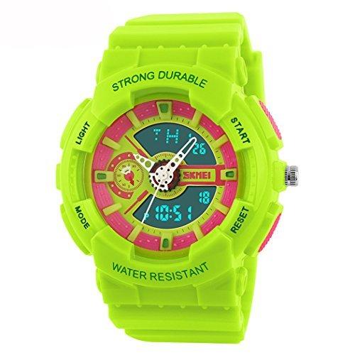 fanmis Damen Herren Sportliches Design Multifunktional Analog Digital Wasserdicht Armbanduhr Gruen
