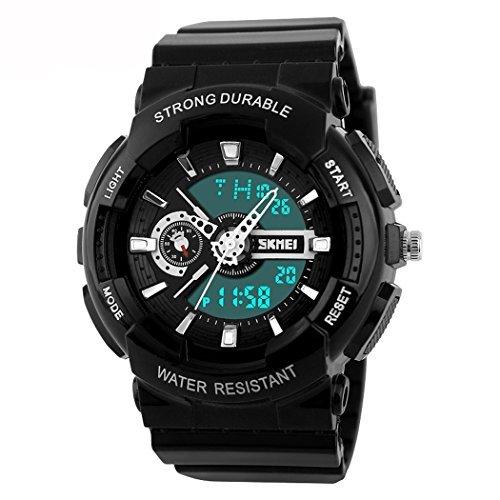 fanmis Damen Herren Sportliches Design Multifunktional Analog Digital Wasserdicht Armbanduhr Schwarz