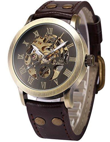 fanmis Herren Steampunk Bronze Skelett automatischen Mechanische braun Leder Armbanduhr